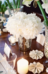 Silver vase, white flower