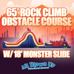 65' Rock Climb Obstacle Course with 18' Monster Slide