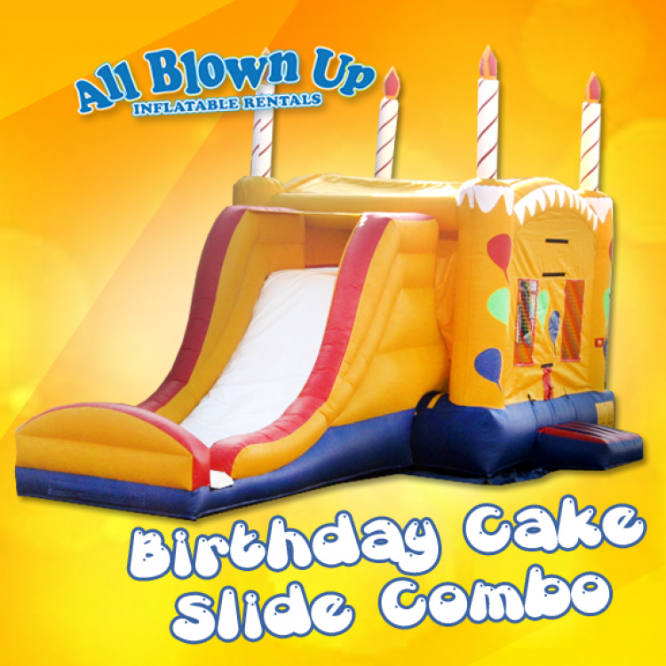 Terrific Birthday Cake Slide Combo All Blown Up Inflatables Funny Birthday Cards Online Unhofree Goldxyz