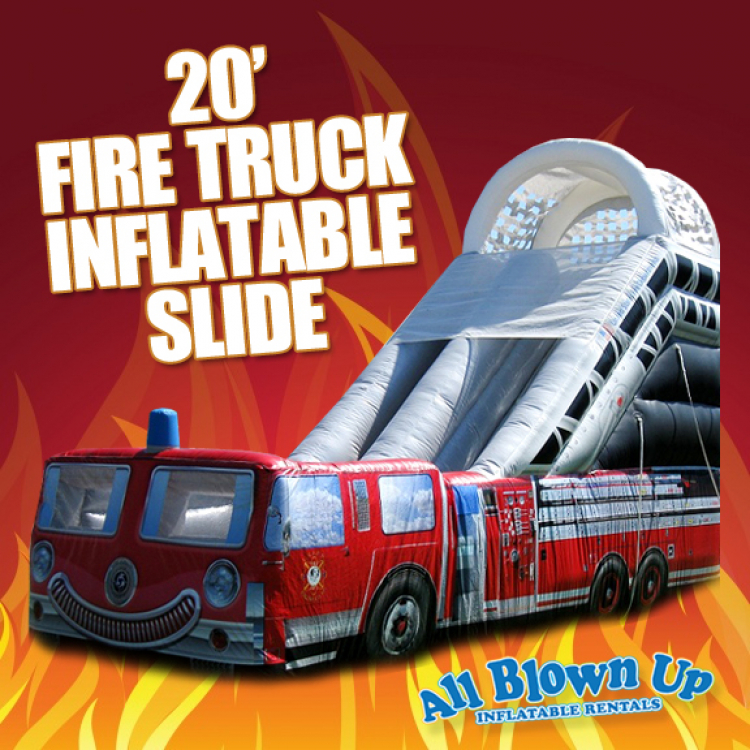 20' Fire Truck Inflatable Slide