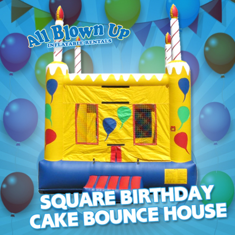 Super Square Birthday Cake Bounce House All Blown Up Inflatables Funny Birthday Cards Online Unhofree Goldxyz