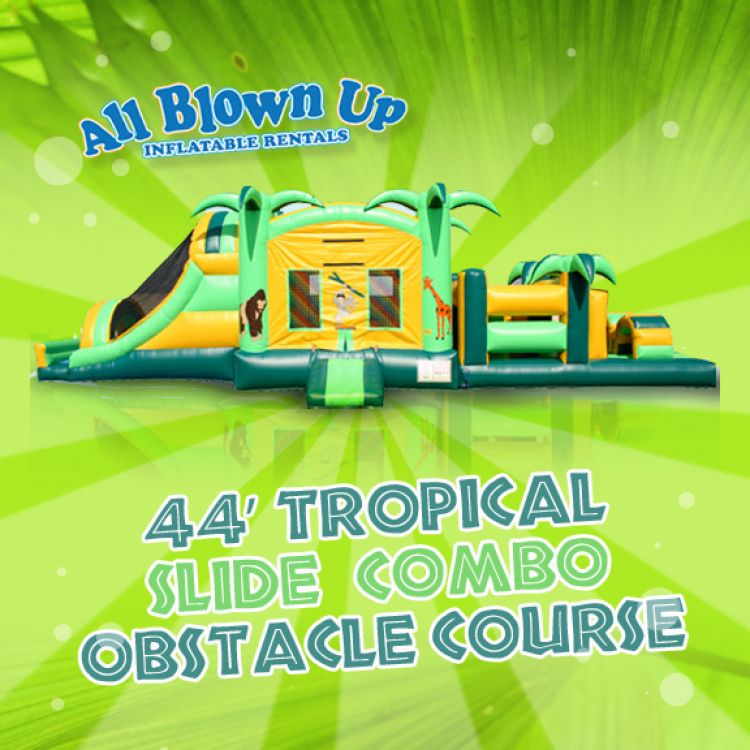 44' Tropical Slide Combo Obstacle Course