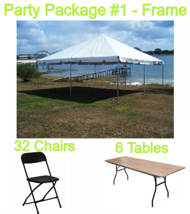 Party Package #1 20x20 FRAME Tent