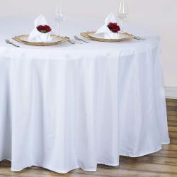 120 Round Linen - White