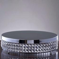 15.5 Sliver Crystal Beaded Metal Riser Cake Stand