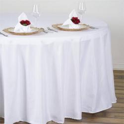 108 Round White Linen