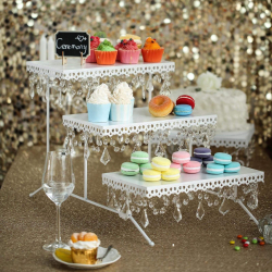 15 Tall | White Metal 3 Tier Cake Stand | Cupcake Holder Di
