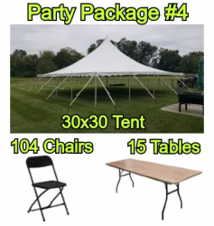 Party Package #4 - 30x30 Pole Tent (104 People)