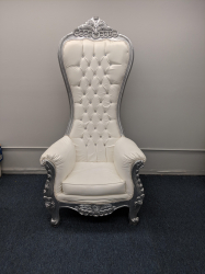 Large Silver Throne Chair
