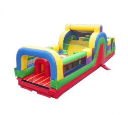 Retro 30' Obstacle Course With Slide
