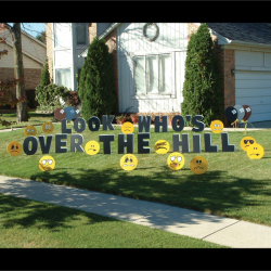 Unsmiley Faces (Over the Hill) Yard Greeting