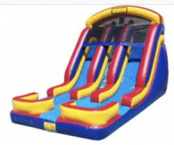 18' Dual Lane Wet/Dry slide (WET) with splash pools