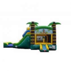 Tiki Bounce House Wet Slide Combo