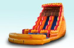 22ft Dual Lane Fire and Ice Water Slide with pool