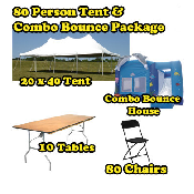 Party Package #7 - Pole Tent & Combo Bounce Package (80 Peop