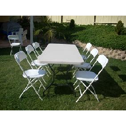 6' table and 6 white chairs