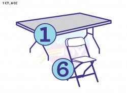 1 Child Four Foot Rectangular Table, 6 Child Chairs