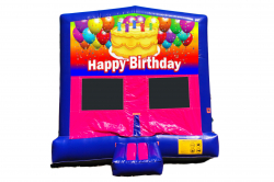 HAPPY BIRTHDAY CAKE PINK/PURPLE BOUNCE HOUSE