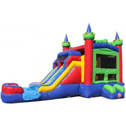 CASTLE DOUBLE LANE SLIDE Wet OR Dry THEME READY 5 In 1 COMBO