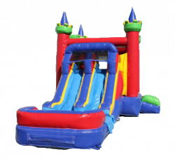 CASTLE DOUBLE LANE SLIDE Wet OR Dry THEME READY COMBO