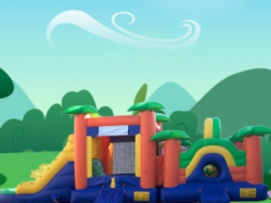 Paradise Playground Bounce Wet OR Dry Combo W/16' Long Slide