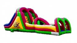 40' Twist Lane Double Rock Wall & Slide Obstacle