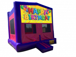 Happy Birthday Balloons Pink/Purple Bounce House