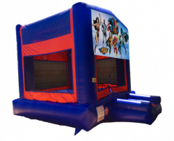 Justice League Red/Blue/Yellow Bounce House