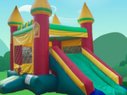 RED/YELLOW/GREEN CASTLE SIDE SLIDE & BOUNCE COMBO