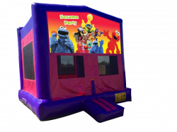 Sesame Party Pink/Purple Bounce House