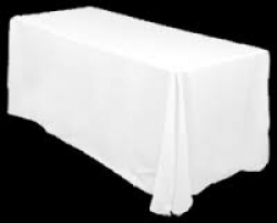 12 White Linens For 8' Rectangular Tables