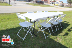 8foottable 10foldingchairs partyrental eventplanning jupiterbouncehouse superiorpartyrental mybouncehouseguy magician balloonartist facepainter waterslide palmbeach martincounty 167739966 8 Foot Adult Table *(Setup/Breakdown Not Included)