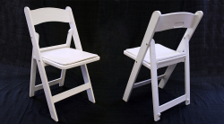 White Wood Looking Folding Chair Rental