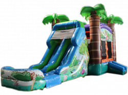 28' Crazy Tropical Bounce House Wet or Dry Water Slide Combo