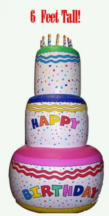 Swell 6 Ft Inflatable Birthday Cake Ounce O Bounce Personalised Birthday Cards Bromeletsinfo