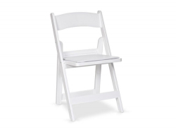 White Padded Resin Folding Chair