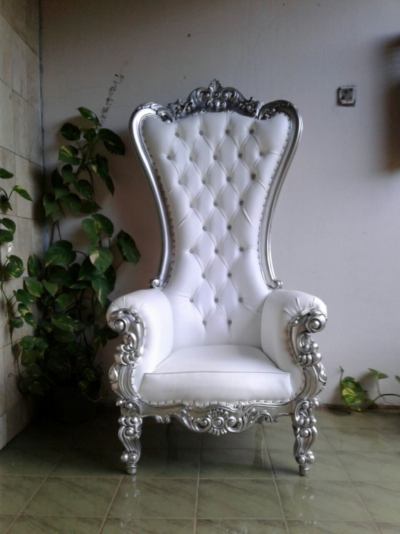 White Silver Regal Throne Chair Baltimore Party Rentals