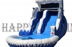 18' Dolphin Wave Double Drop  Water Slide