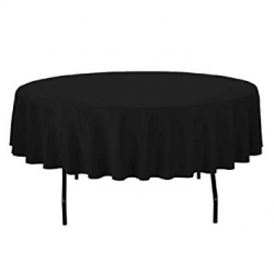 5ft Round Linen Black (Lap Length)