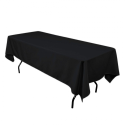 6ft Rectangular Black Linen (Lap Length)