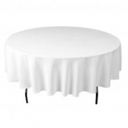 5ft Round White Linen (Lap Length)