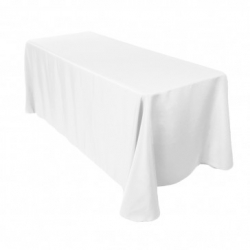 6ft Rectangular White Linen (Full Length)