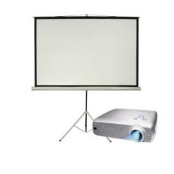 4000 Lumens Projector & White Screen