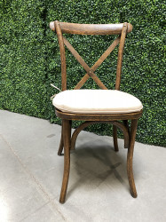 Dining Chair - Crossback Antique Brown - Cream/Natural Pad