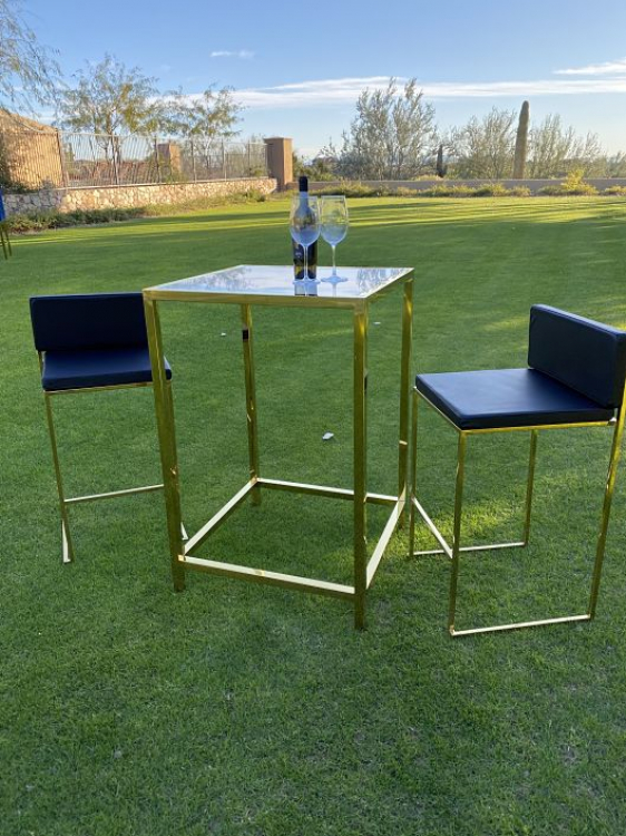 Bar Stool - Black Cushion - Paramount Gold Frame