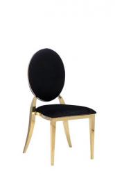 Dining Chair - Garbo - Black Velvet with Polished Gold Frame