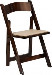 Folding Chair - Dark Brown Fruitwood - Tan Pad