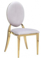 Dining Chair - Garbo - White with Polished Gold Frame