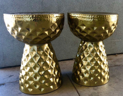 Side Table - Gold Drum