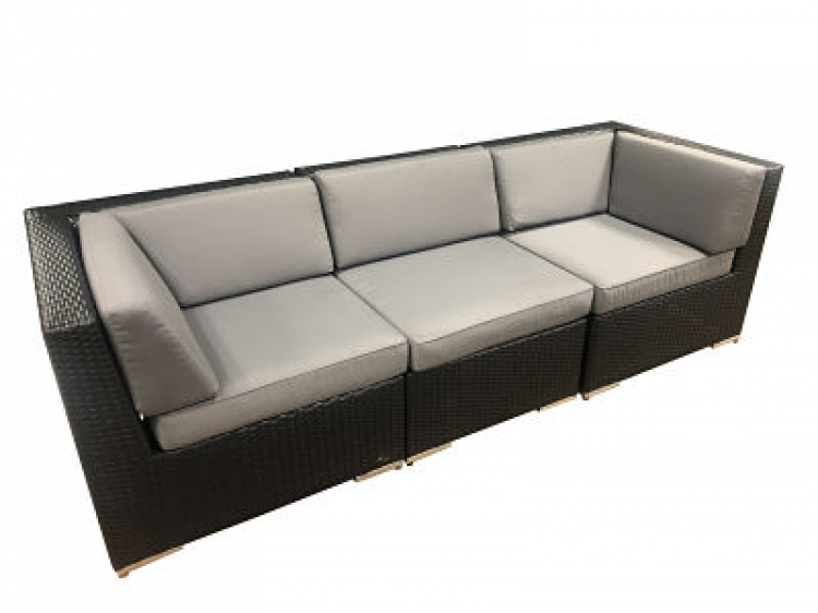 Outdoor Furniture - Sofa - Black Wicker with Gray Cushion -